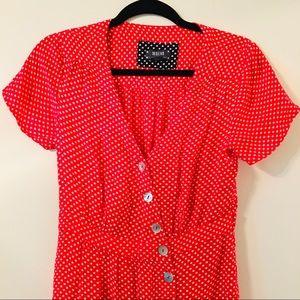 Maeve Anthropologie retro style polka dot dress